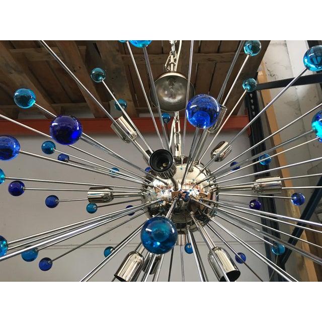 Blue Contemporary Murano Glass Triedo Sputnik Chandelier For Sale - Image 8 of 11