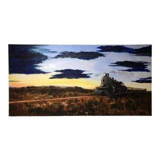 Train at Sunset Acrylic on Canvas Painting For Sale