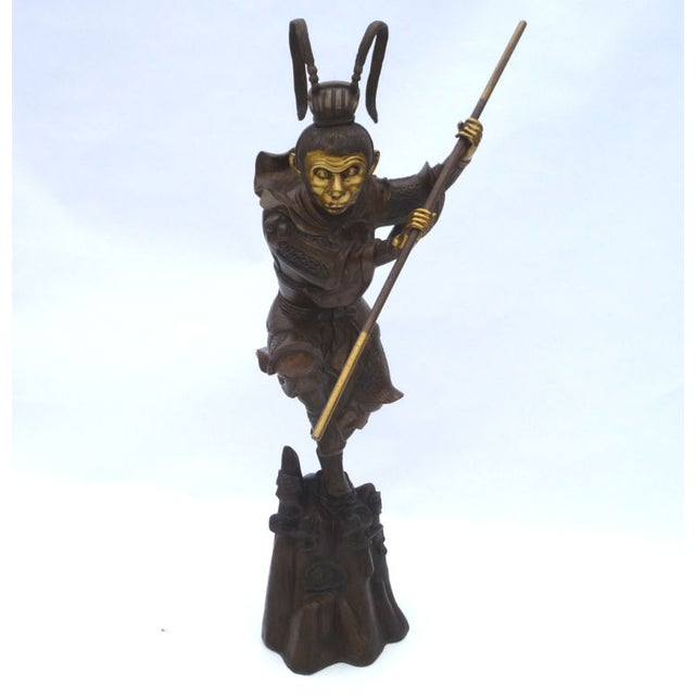 Large Bronze Statue of Sun Wukong Warrior - Image 2 of 7
