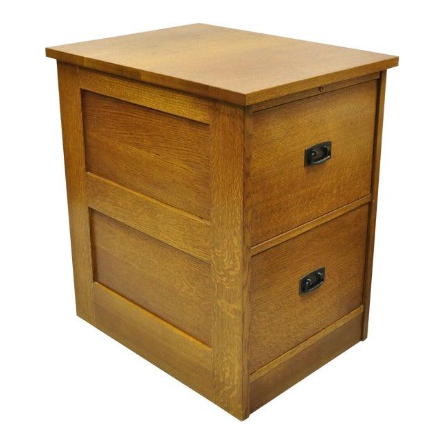 L&j G Stickley Arts & Crafts Mission Oak Wood Two Drawer Office File Cabinet For Sale