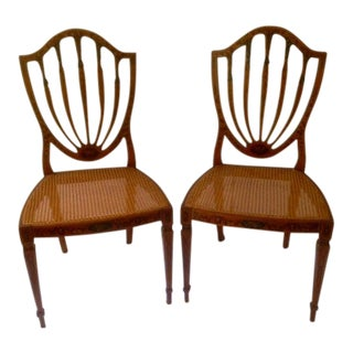 George III Style Paint Decorated Satinwood Cane Chairs - a Pair