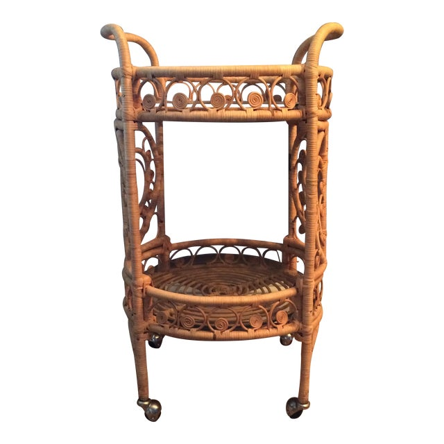 Vintage Bamboo & Rattan Bar Cart - Image 1 of 7