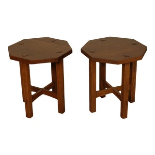 Stickley Mission Collection Oak Pair Octagonal Taborets, Side Tables For Sale