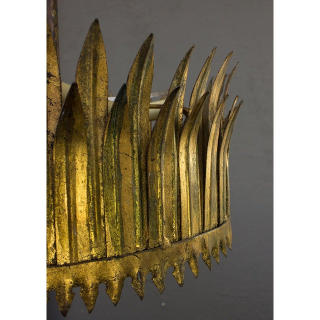 Spanish Gilt Metal Crown Ceiling Fixture For Sale - Image 4 of 9