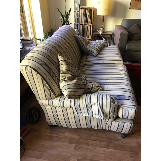 Crate & Barrel Striped Fabric Sofa - Image 3 of 6