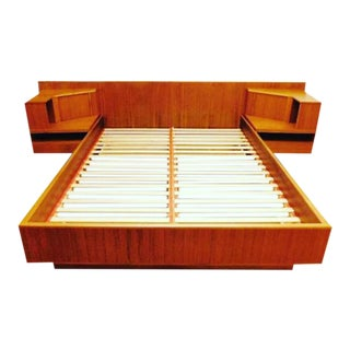 Uldum Mobler Danish Modern King Teak Floating Bed W/ Nightstands For Sale