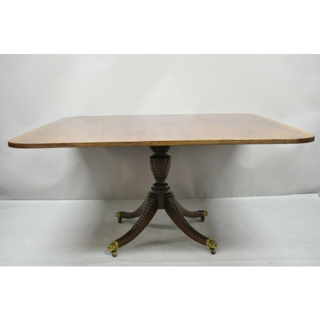 Antique Square Banded Mahogany Duncan Phyfe Dining Conference Room Table For Sale - Image 13 of 13