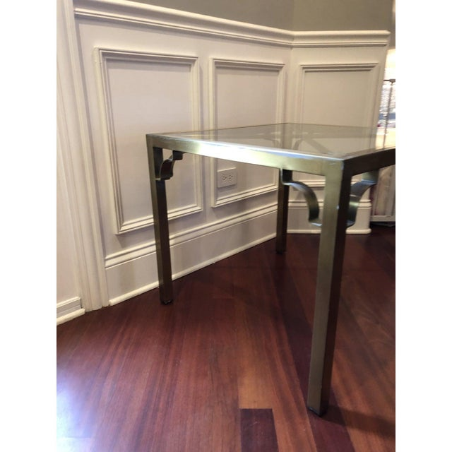 Hollywood Regency Brass & Glass Accent Table For Sale - Image 4 of 9