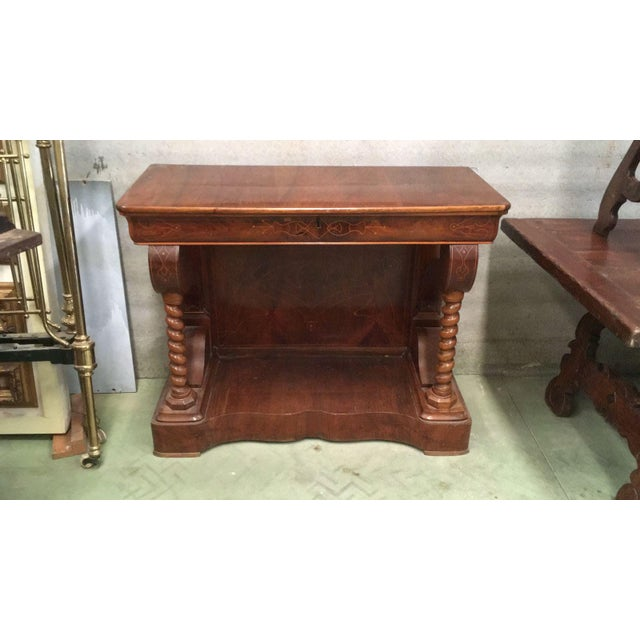 Biedermeier 20th Century Biedermeier Style Marquetry Spanish Console Table With Drawer For Sale - Image 3 of 10