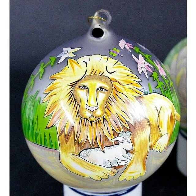 "Yellow Sacred Season Holiday Hand Painted ""Lion & Lamb"" Ornament Christmas Easter For Sale - Image 8 of 8"