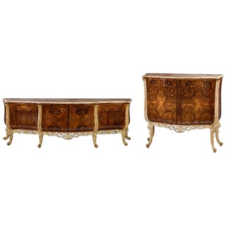 Italian Burl and Marquetry Inlaid Marble Top Buffet - A Pair For Sale
