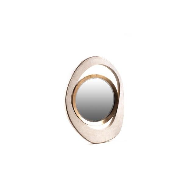 "Art Deco Medium ""Peacock"" Mirror in Cream Shagreen & Bronze-Patina Brass by R&y Augousti For Sale - Image 3 of 5"
