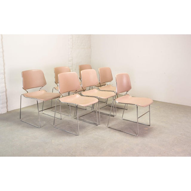 Set of Seven Mid-Century Muted Pink Stackable Dining Chairs by Thomas Tolleson for Matrix Krueger, Usa, 1970s For Sale - Image 13 of 13