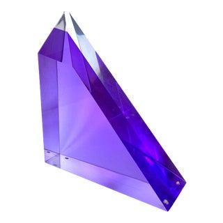 Vintage Purple Lucite Prism Sculpture After Vasa Mihich For Sale