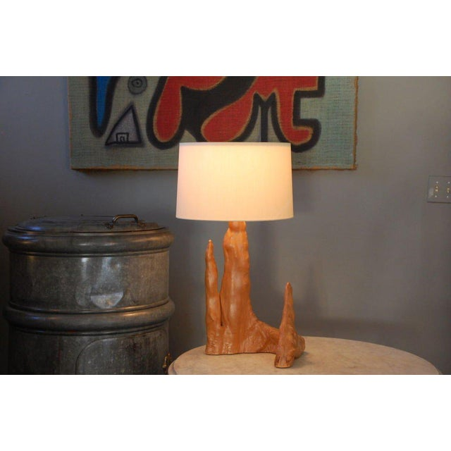 1950s Sculptural Cypress Root Table Lamp With Custom Silk Shade For Sale In Los Angeles - Image 6 of 6