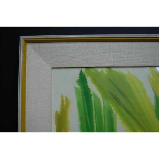 Paint Tropical Leaves Framed Water Color by Norma Green For Sale - Image 7 of 9
