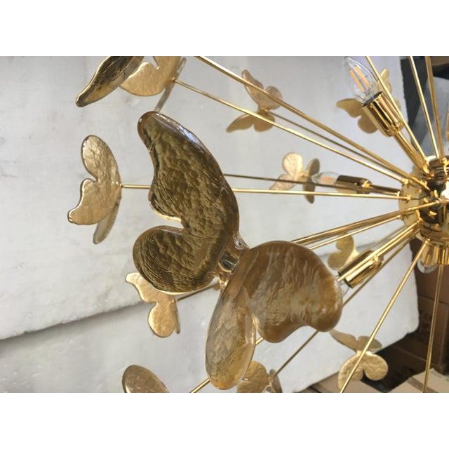 Metal 24 Karat Gold Butterfly Sputnik Chandelier For Sale - Image 7 of 10