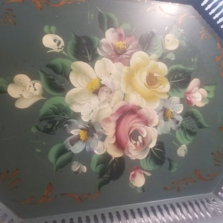 1950s Vintage Tole Ware Green Hand Painted Flowers Pierced Lattice Edge Tray Preview