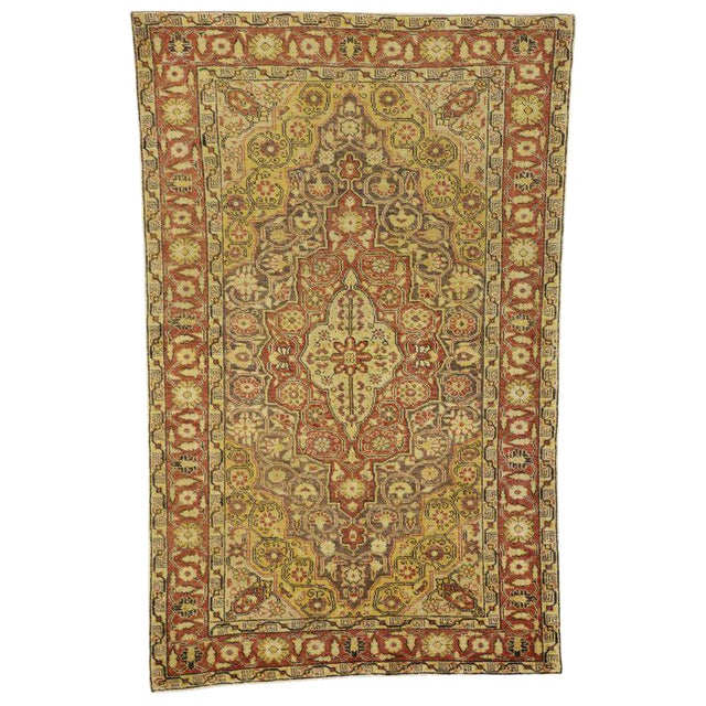 20th Century Rustic Turkish Oushak Accent Rug - 4′4″ × 6′10″ For Sale