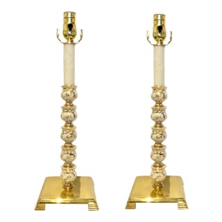 Vintage Art Deco Custom Pair of Porcelain and Brass Table Lamps For Sale