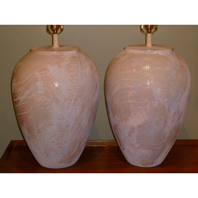 PAIR Unusual Fat Drip Glazed Oil Jar Form Table Lamps - Image 2 of 4