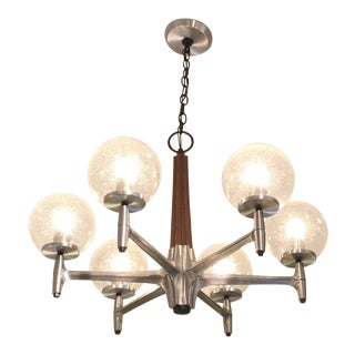 Lightolier Wood Glass and Metal Chandelier For Sale