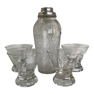 Four Grey Goose Stemless Martini Glasses With Crackle Finish Glass Martini Shaker - Set of 5 For Sale
