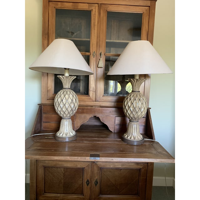 Beige and Brown Carved Wooden Table Lamps - a Pair For Sale - Image 12 of 12