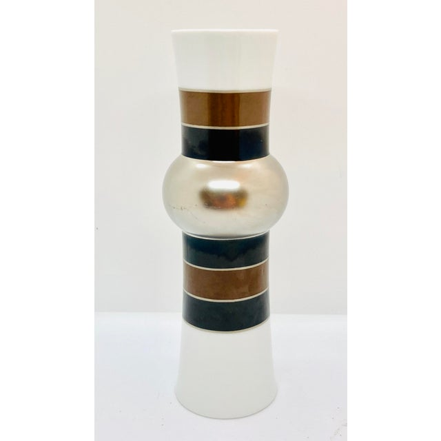 1970s Rosenthal Studio Line Vase With Silver, Brown, and Black Glaze Designed by Tapio Wirkkala For Sale - Image 10 of 10