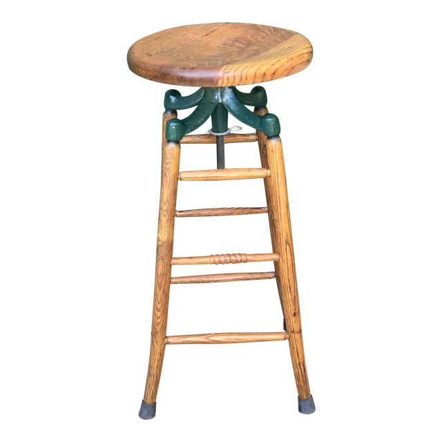 Magnificent Antique Oak Cast Iron Draftsman Drafting Stool Caraccident5 Cool Chair Designs And Ideas Caraccident5Info
