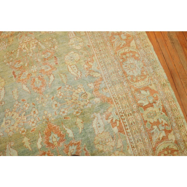 Traditional Pale Green Terracotta Antique Rug, 9'1'' X 12'7'' For Sale - Image 3 of 13