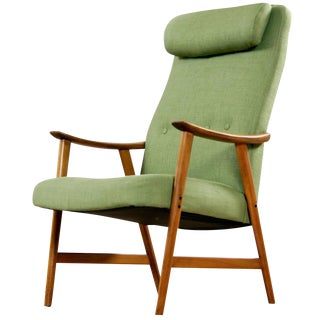 Green Mid Century Modern Arm Chair For Sale