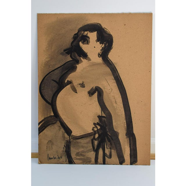 """Paint 1960s Vintage David Jacobs """"Untitled"""" Portrait of Man on Board Painting For Sale - Image 7 of 7"""