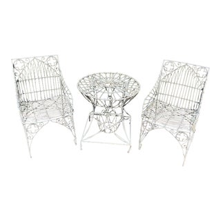 Vintage Patio Armchairs and Matching Round Side Table -A Set of 3 For Sale