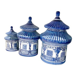 Vintage Blue and White Chinoiserie Pagoda Canisters - Set of 3 For Sale