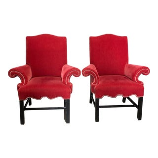 J Robert Scott Crimson Velvet Arm Chairs - a Pair For Sale