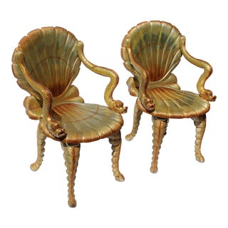 Pr of Venetian Grotto Chairs 20c. For Sale
