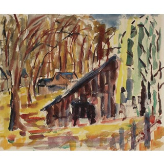 Richard Van Wingerden Mid-Century Expressionist Forest Landscape Watercolor on Paper Circa 1950 For Sale