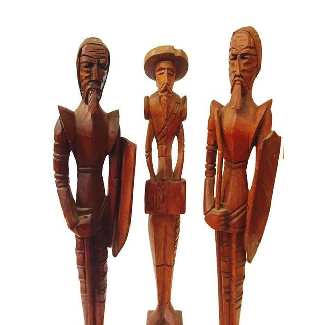 Mid Century Hand Carved Wood Don Quixote Statues, Tall Wood Sculptures, highly detailed display set of 3. Southwestern...