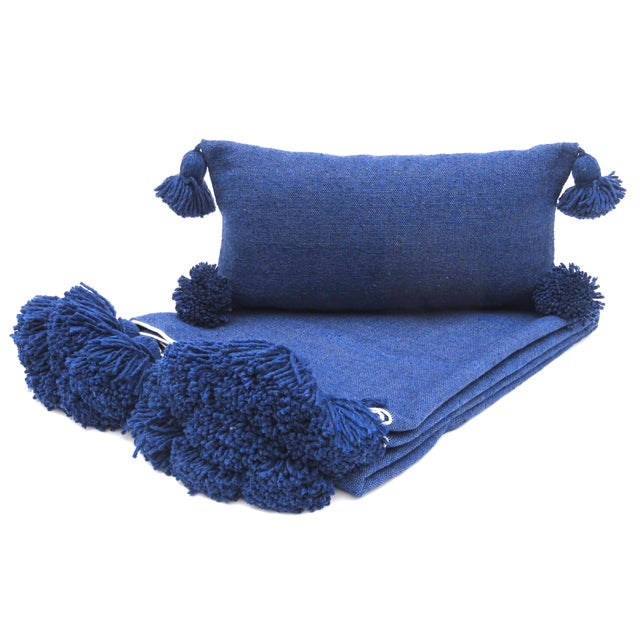Boho Chic Indigo Cotton Pillow For Sale In Los Angeles - Image 6 of 7