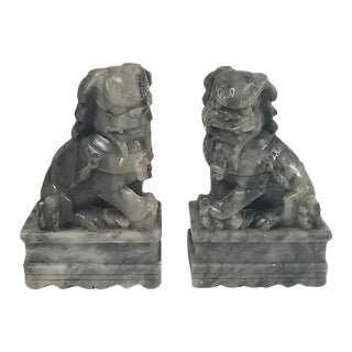Soapstone Foo Dog Bookends - A Pair