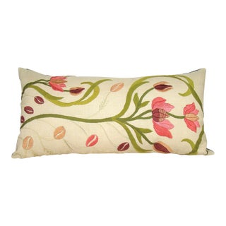 Hand-Embroidered Floral Crewelwork Bolster Pillow Cover For Sale