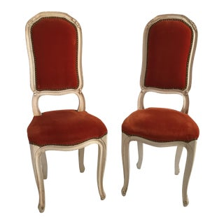 Vintage Upholstered Side Chairs - a Pair