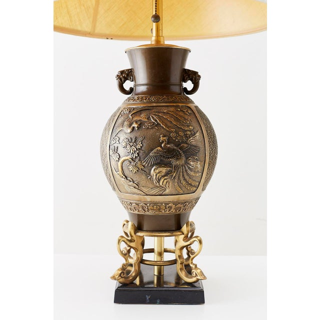 Metal Japanese Bronze Urn Vase Mounted as Table Lamp For Sale - Image 7 of 13