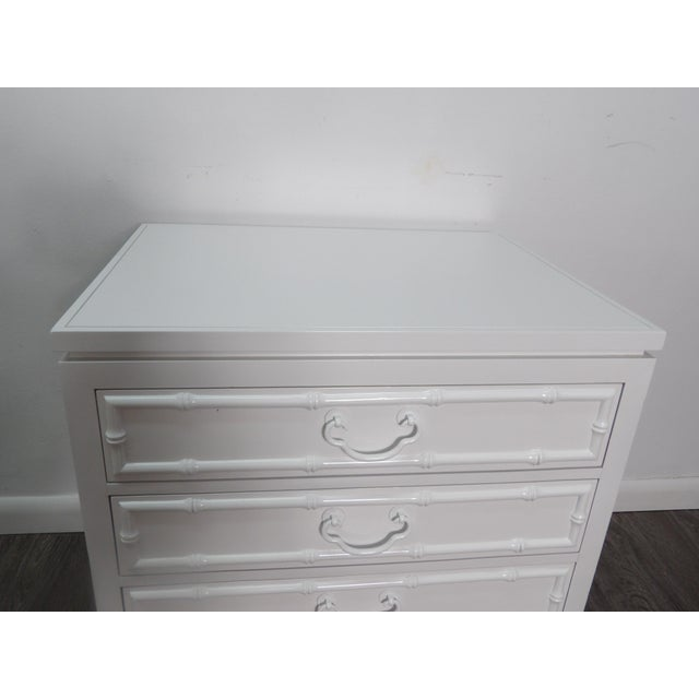 2010s Ficks Reed Nightstand, Three Drawer, New White Lacquer Finish For Sale - Image 5 of 7