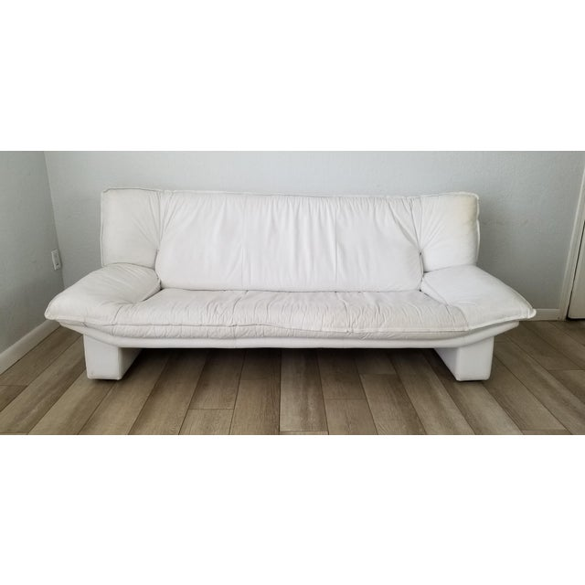I'm pleased to offer for sale this stunning Italian Vintage Postmodern Nicoletti Salotti Italian White leather Sofa, circa...