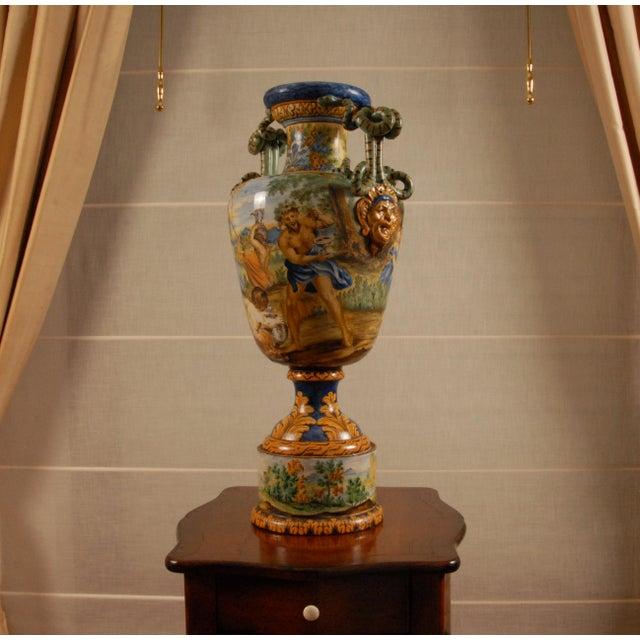 Ceramic Italian Majolica Serpentine Handle Mythological Vase For Sale - Image 7 of 13