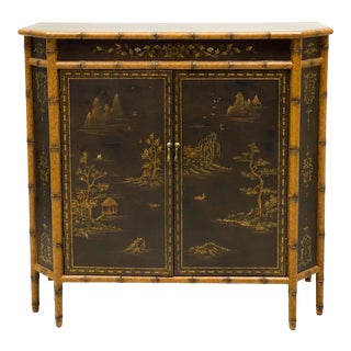 Bamboo Chinoiserie Style Cabinet / Sideboard For Sale