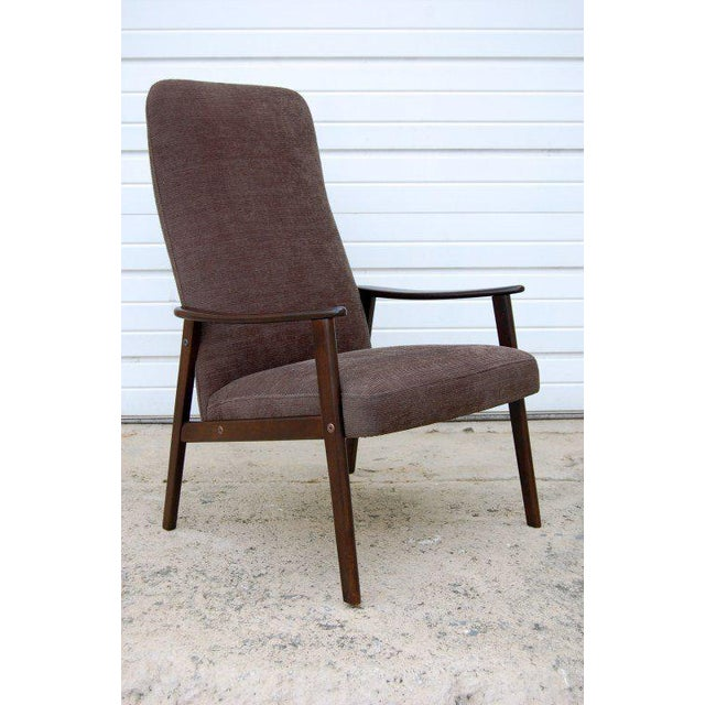 Mid-Century Modern Vintage Swedish Modern Chenille Lounge Armchair For Sale - Image 3 of 9
