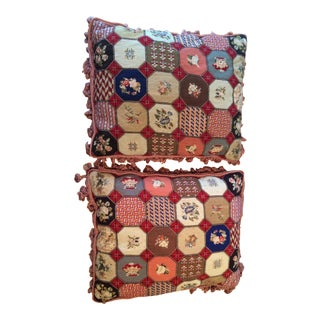 Vintage Petit Point Pillows With Tassel Trim - A Pair